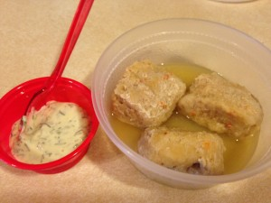 gefilte fish with dill dip