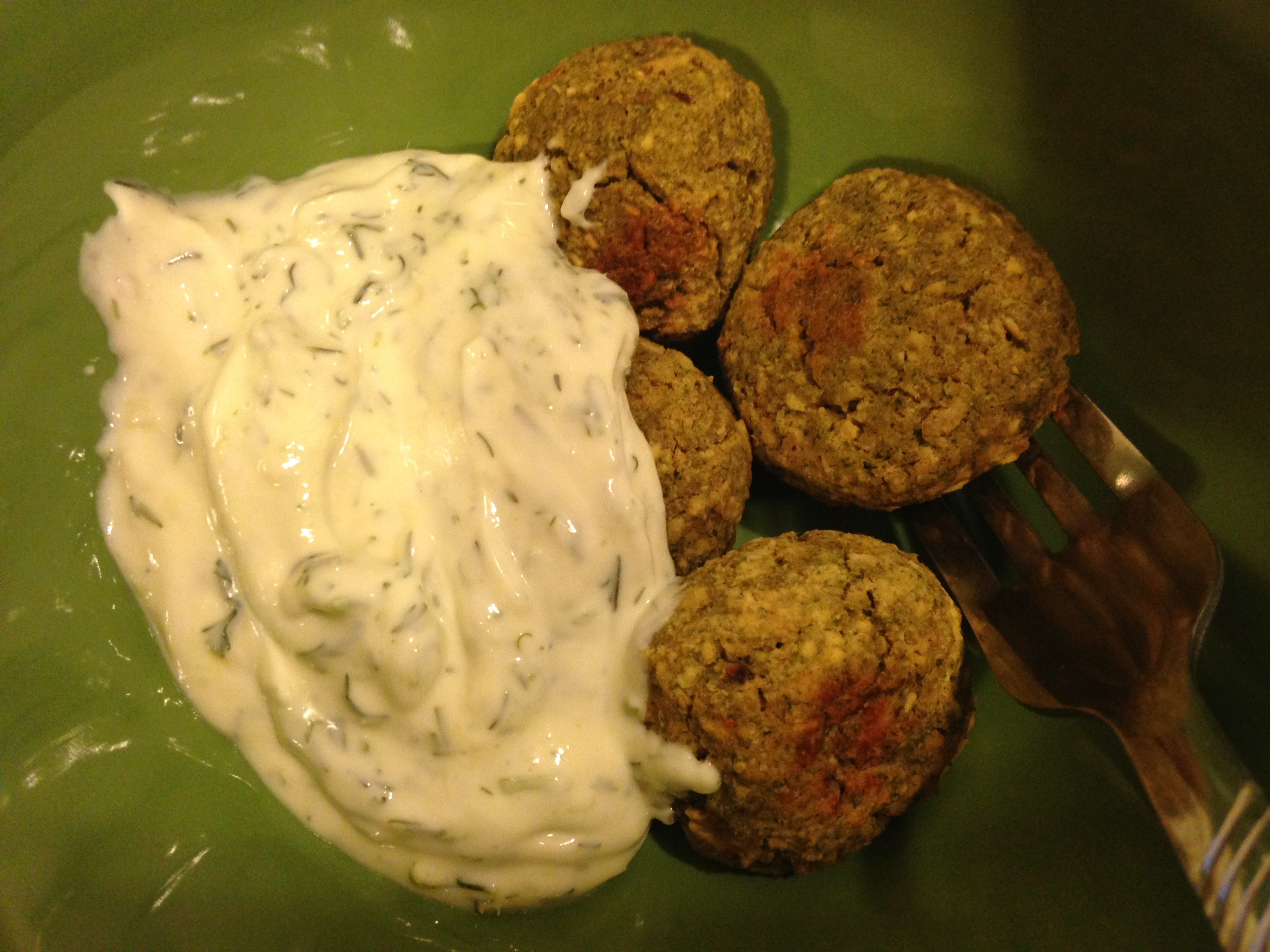 Falafel Balls and Dill Dip, 16 grams protein per 4 oz puree lunch meal | Protein Artist
